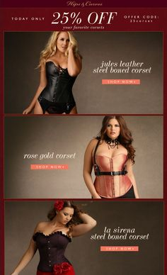 25% Off Your Favorite #corset styles!  Today only!  Offer code 25corset #hipsandcurves #sale