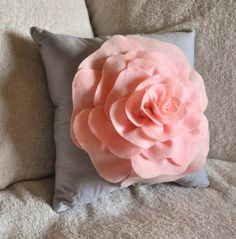 Light Pink Rose on Light Grey Pillow 14x14 by bedbuggs on Etsy, $31.00