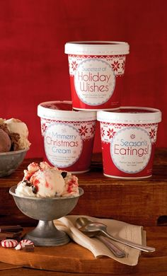 Our Holiday Ice Cream collection offers four unique flavors in personal serving-sized tubs. Buy a set today for the perfect stocking stuffer or last minute gift! Holiday Wishes, Holiday Gift Guide, Holiday Gifts, Christmas Gifts, Wine Gifts, Food Gifts, Next Day Delivery Gifts, Gourmet Gift Baskets, Gifts Delivered