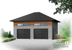 Garage Plan 76395 - Contemporary, Cottage Style 1 Car Garage ApartmentPlan with 1028 Sq Ft, 1 Bed, 2 Bath 2 Car Garage Plans, Garage Apartment Plans, Garage Apartments, Garage Ideas, Log Home Plans, Barn Plans, Craftsman Farmhouse, Modern Farmhouse, Craftsman Style