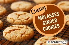 Chewy Molasses Ginger Cookies: Just 53 calories each. These smell and taste DELISH and are so easy! | via @SparkPeople #holiday #christmas: