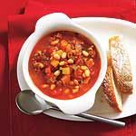Tomato Sausage Bean Soup - I've made this, it's awesome and my winter 'go to' soup. Perfect to make for the vegetarians in your life. Just omit the sausage and add another or more beans. I used turkey sausage to keep it leaner. Yummo!