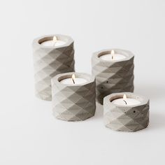 GEOMETRIC CONCRETE CANDLE HOLDER SET (GREY)