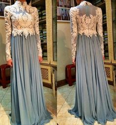 Chiffon Lace Long Sleeves Evening Dress Sheath High Neck Prom Party Formal Gown in Clothing, Shoes & Accessories, Wedding & Formal Occasion, Bridesmaids' & Formal Dresses Islamic Fashion, Muslim Fashion, Modest Fashion, Hijab Fashion, Pakistani Dresses, Indian Dresses, Hijab Look, Party Kleidung, Long Sleeve Evening Dresses