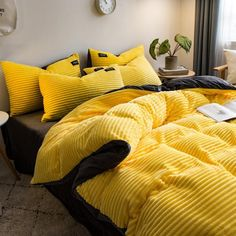Crystal Velvet Coral Fleece Bedding Sets Solid Color Wavy Stripes Thickening Duvet CoverYellow / S Velvet Bedding Sets, Yellow Comforter, Yellow Bedding Sets, Bed Comforter Sets, Dreams Beds, Aesthetic Room Decor, Mellow Yellow, Dream Rooms, New Room