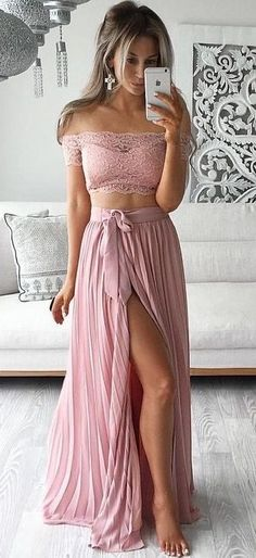 $139-2016 Two Piece Prom Dresses Lace Top Off the Shoulder Short Sleeves…