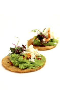 SOHO TACO's Tostadita Appetizers: fresh guacamole, creamy queso, house salsa de chile and micro greens on a crisp tortilla chip.  We've got a lovely wedding in Dove Canyon this evening and we're ready to dazzle palates with these lovely creations.    More: http://www.sohotaco.com/2014/05/24/tantalizing-appetizers-for-todays-dove-canyon-wedding  #tacocatering #ocfoodies #dovecanyon #weddings