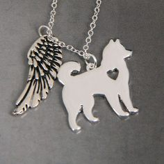 Siberian Husky Angel Pendant Jewelry Sterling Silver Handmade Dog Pendant SH20-A