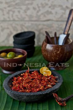 One of Indonesian Sambals from Batak ethnic group that is spicy and addicted Spicy Recipes, Asian Recipes, Gourmet Recipes, Cooking Recipes, Healthy Recipes, Healthy Food, Malaysian Cuisine, Malaysian Food, Indonesian Cuisine