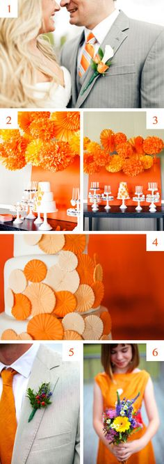 Orange wedding inspiration. View more tips & ideas on our Facebook Page : https://www.facebook.com/BoutiqueBridalParty