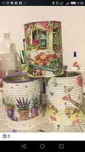Pin by Mara_Artes on Artes em latas Aluminum Can Crafts, Tin Can Crafts, Diy Home Crafts, Crafts To Make, Aluminum Cans, Garden Crafts, Decoupage Vintage, Decoupage Tins, Decoupage Furniture