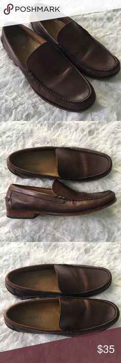 Cole Haan Men's 9M Brown Leather Loafers 👞 COLE HAAN  Men's Size 9 M  Brown Leather Loafers Preowned, in Good Used Condition.  *See Last Picture For Close Up of Front Left Shoe. Tip of Toe Area Shows Wear and is Slightly Lifting. Otherwise These Shoes Are Strong and Durable With Tons of Life Left.  Comes From a Clean Smoke Free Home Please Message Me With Any Questions Cole Haan Shoes Loafers & Slip-Ons