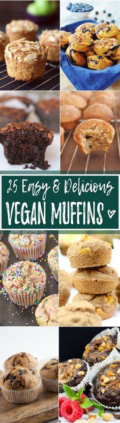 This unique collection of 25 incredibly delicious vegan muffins got every flavor covered! Blueberry, chocolate, pumpkin, kiwi, and mango- we got it all! <3 | veganheaven.org