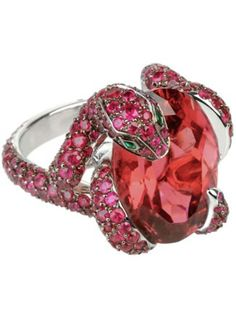 Boucheron Pythia Ring | ruby, pink tourmaline snake body, and emerald eyes in white gold