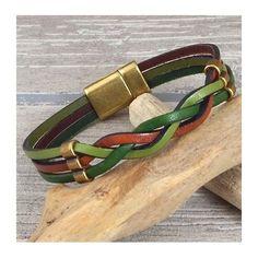 Fabriquez vous meme ce bracelet cuir marron et vert aux couleurs de l 'automne avec perles passantes et fermoir en zamak bronze.