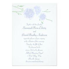 Blue Blossoms Wedding Invitation