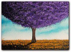 Landscape Painting, Original Art, Contemporary Abstract Art, Purple Tree Painting, Abstract Tree Oil Painting, Purple Tree Landscape, 5 x 7