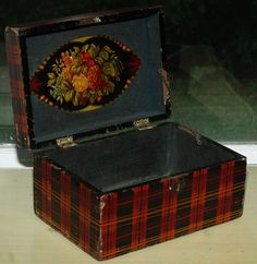 Vintage Antique Tartanware Box Tartan Ware Old Letter Box Wooden AS IS