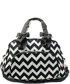 34.29$  Watch here - http://vijoh.justgood.pw/vig/item.php?t=lak43or29328 - Chevron Stripe Quilted Large Weekender Tote Duffel Bag Black & White