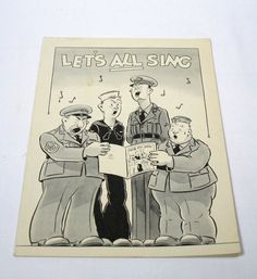 Vintage World War Two WWII Song Book  Lets All by AVintageStore