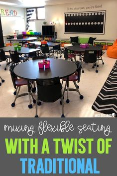 Merge flexible seating options with a twist of traditional seating by using tables for collaboration instead of desks! Check out tons of classroom decor pictures in this blog post, as well as links to lots of favorite flexible seating resources.