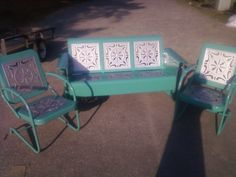Custom Old Metal Porch Glider Restored Set! www,retrovintagepatio.com