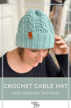 Sophisticated crochet cables and a deep ribbed brim makes the Neo Crochet Cable Hat the perfect winter beanie crochet pattern to make and add to your wardrobe. Worked completely flat, this quick and simple hat is effortlessly stylish and will suit everyone. #crochetcablehat #beaniecrochetpattern #crochetcable