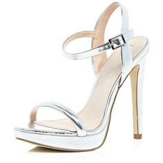 River Island Silver barely there heeled sandals ($40) ❤ liked on Polyvore featuring shoes, sandals, heels, silver, sale, shoes / boots, women, silver heel shoes, silver metallic shoes and summer sandals