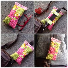 Tutorial: Glasses case you can clip to your purse strap Sewing Hacks, Sewing Tutorials, Sewing Projects, Sewing Tips, Sewing Ideas, Sewing Crafts, Sewing Patterns, My Bags, Purses And Bags