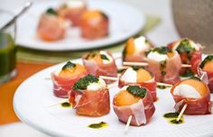 Melon paired with prosciutto makes a light, elegant appetizer that showcases fresh ingredients like mozzarella and basil pesto. Get the recipe here.