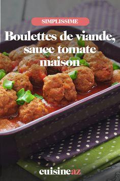 Les boulettes de viande, sauce tomate maison est une recette qui plaira aux enfants.#recette#cuisine#boulette#viande#sauce#tomate Saint, Chicken, Food, Dumplings, Tomatoes, Essen, Meals, Yemek, Eten