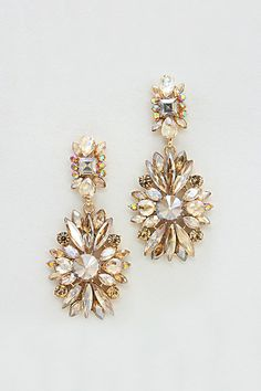 Crystal Charlotte Earrings in Champagne | Women's Clothes, Casual Dresses, Fashion Earrings & Accessories | Emma Stine Limited