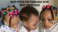 Hello Lovelies, this is a vidoe on how I made this cute and easy braids/twist on my daughters super short hair. Little Girl Short Hairstyles, Black Toddler Hairstyles, Short Hair For Kids, Little Girl Braids, Natural Hairstyles For Kids, Very Short Hair, Childrens Hairstyles, Natural Hair Braids, Natural Hair Styles