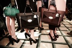 Catwalk ready at the Mulberry Autumn Winter 2013 show <3 ....I want the black Willow bag!!