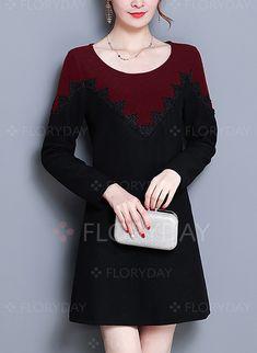 Dress - $40.99 - Cotton Color Block Long Sleeve A-line Dress (1955232467)