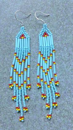 Native American Beaded Earrings by prettyuniquedesigns2 on Etsy