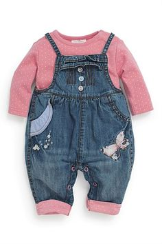 Next Denim Butterfly Dungarees And Bodysuit Two Piece Set