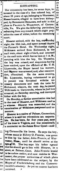 """""""Kidnapping,"""" article from Political Arena newspaper, September Courtesy of the Central Rappahannock Regional Library, Ferdericksburg, Virginia. Worcester, Regional, Newspaper, Growing Up, Virginia, September, Politics, Things To Sell, Journaling File System"""