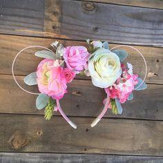 Pretty in pink ears, pink floral, pink flowers, flower crown, boho, minnie ears, mickey ears, bachelorette, flower and garden, flexible wire