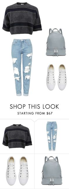 """Gray Stripes"" by claralichti ❤ liked on Polyvore featuring Brunello Cucinelli, Topshop, Converse and MICHAEL Michael Kors"