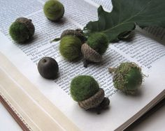 Spring Forest Acorns - Wool Felted Acorns SET of 12 in Avocado Olive Green - Rustic Home Decor, Host Wedding Colors, Wedding Styles, Sweet Magic, Spring Forest, Enchanted Forest Wedding, Nature Table, Spring Green, Acorn, Wedding Vendors