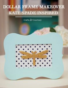 I'm a huge fan of Kate Spade and her famous polka dots. In this DIY frame project I gave a $1 Michaels surface a Kate-inspired makeover and it looks great!