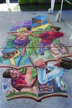 3d street art, chalk pavement art by Michael Kirby