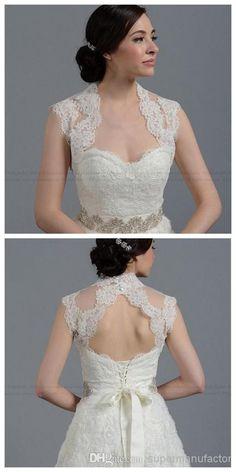 Discount 2014 New Elegant Portarit Open Front Wedding Bolero Jacket Lace-up Fashion Alencon Lace Bridal Wrap Jacket Wedding Accessories Online with $31.73/Piece | DHgate