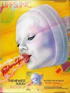 "Advert for Lipps Inc's ""Pucker Up"" album, Lipps Inc, Classic Album Covers, Pop Art Girl, Music Album Covers, Great Albums, Punk, Latest Music, Pulp Fiction, Vintage Ads"