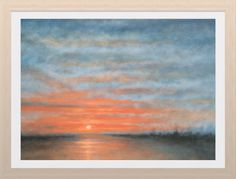 """Sunset at sea in Norfolk. Enjoying chroma with this oil painting on canvas. 20""""x16"""""""