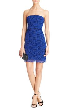 Walker Two Toned Lace Strapless Dress