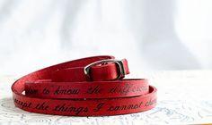 Serenity Prayer on Ultra Long Leather Wrap Bracelet by Cjohannesen, $29.00