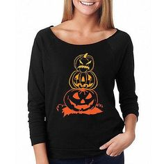 Halloween Costume T-SHIRT Womens Long Sleeve Pumpkin Horror Fancy Top Tee - Hespirides Gifts