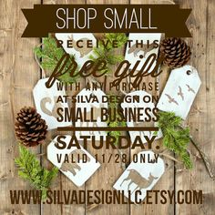 Shop Small on Saturday 11/28 and receive this free gift at Silva Design. 8 woodland creatures wood Christmas ornaments. www.silvadesignllc.etsy.com